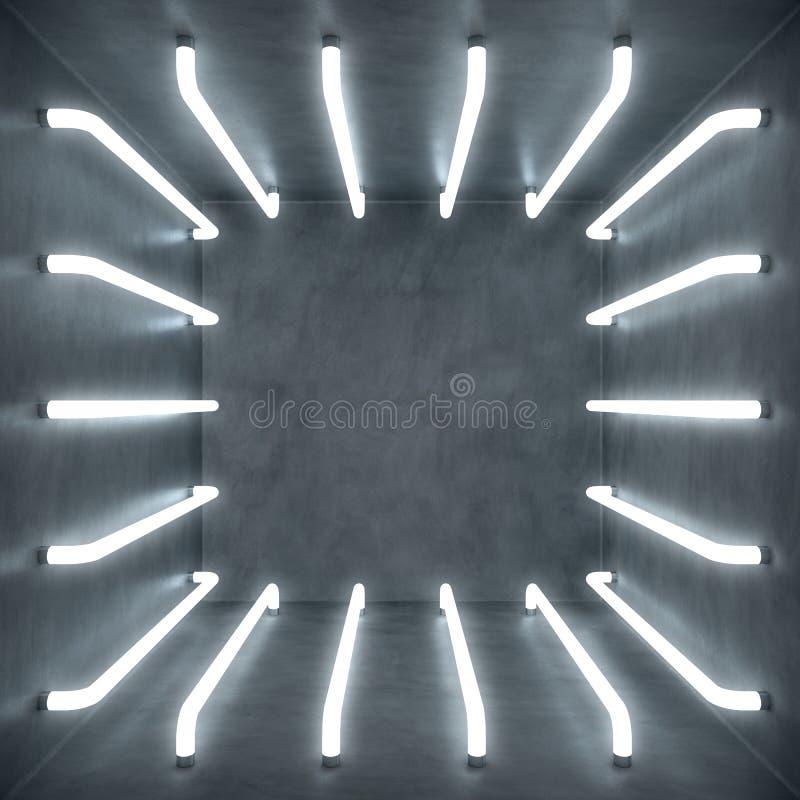 3D例证摘要与白炽霓虹灯的绝尘室内部 未来派结构的背景 空的白色 皇族释放例证