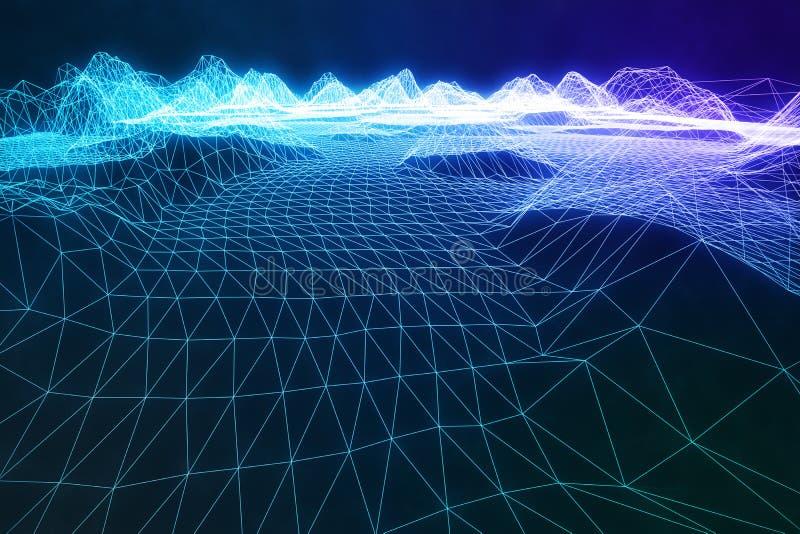 3D例证摘要数字式wireframe风景 网际空间风景栅格 3d技术 抽象互联网 库存图片