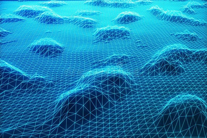 3D例证摘要数字式wireframe风景 网际空间风景栅格 3d技术 抽象互联网 皇族释放例证