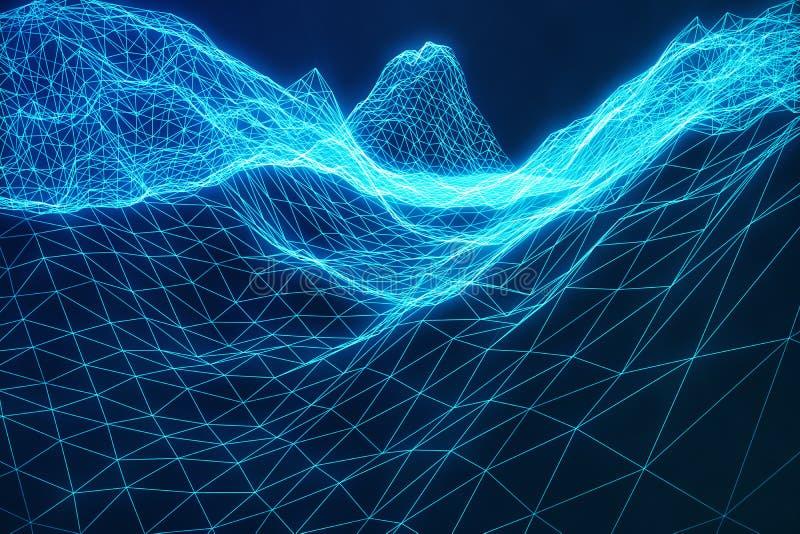3D例证摘要数字式wireframe风景 网际空间风景栅格 3d技术 抽象互联网 库存例证