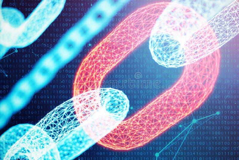 3D例证数字块式链代码 链节网络 发光在蓝色小点的三角低多角形栅格  向量例证