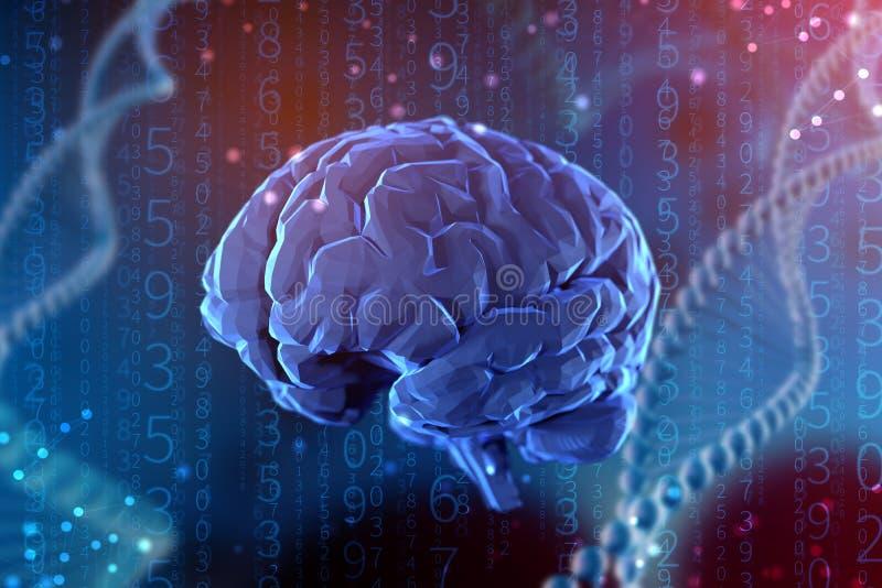 3d例证数字脑子 人工智能和头脑的不可限量的可能性 库存例证