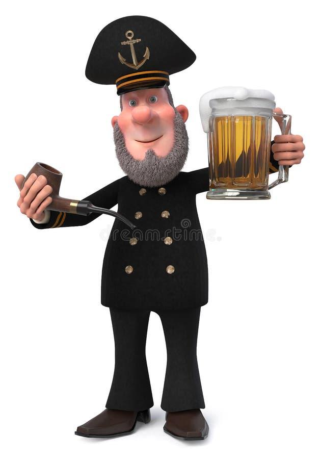 3d例证有烟斗的船长 皇族释放例证
