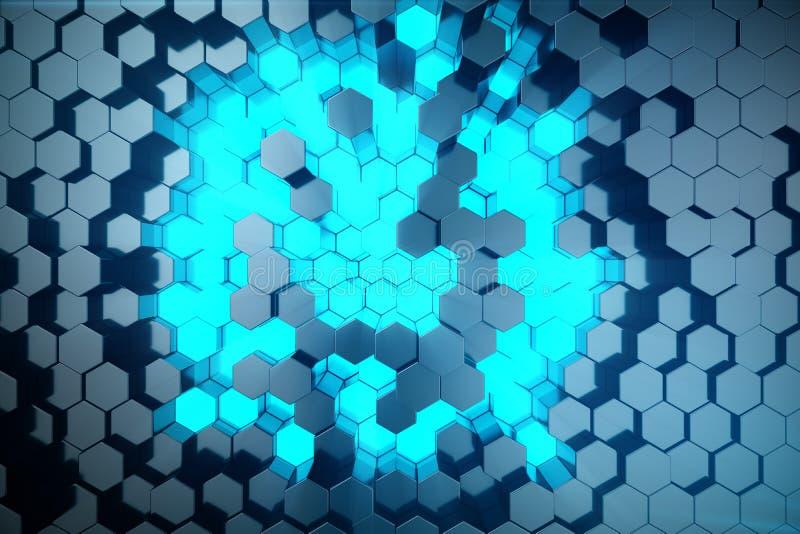 3D例证未来派表面六角形样式摘要蓝色与光线的 蓝色色彩六角背景 库存图片