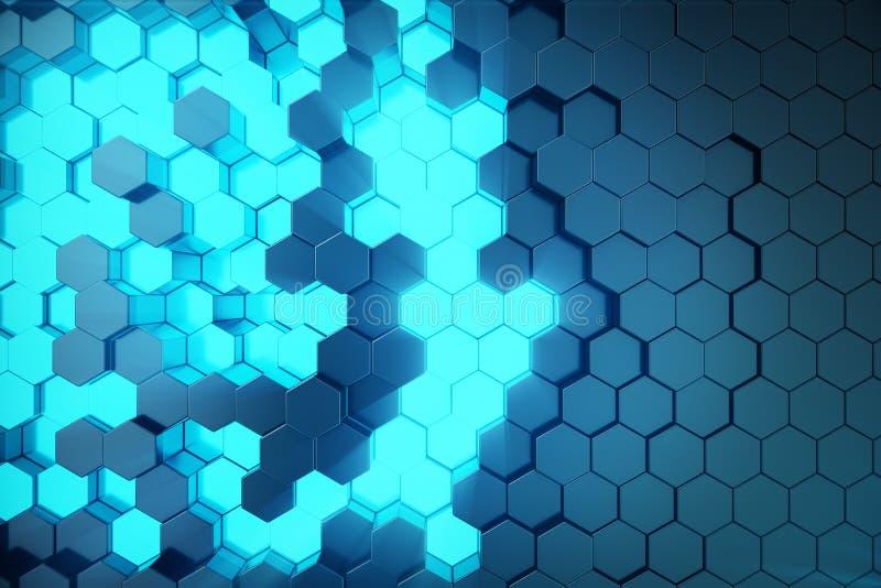 3D例证未来派表面六角形样式摘要蓝色与光线的 蓝色色彩六角背景 库存例证