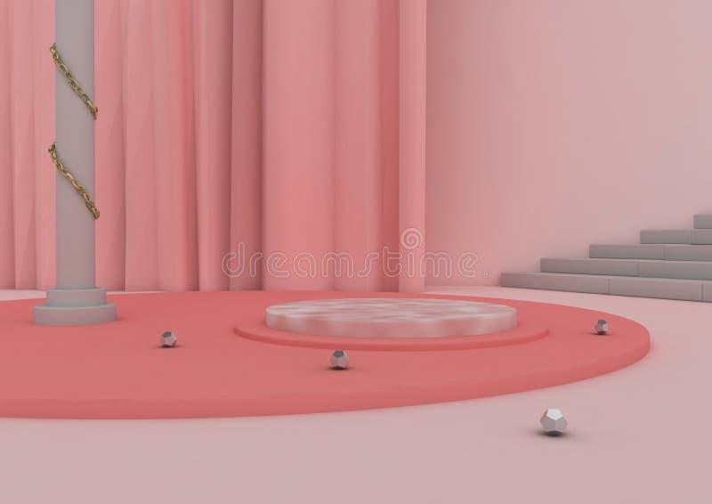 3D例证桃红色,商品的平台 库存例证