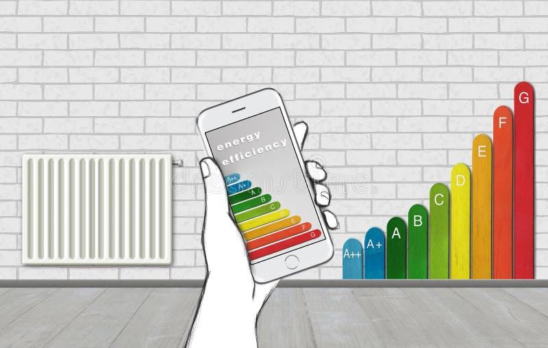 3D例证概念聪明的家庭控制 温度设置热化通过有节能类标志的巧妙的电话 向量例证