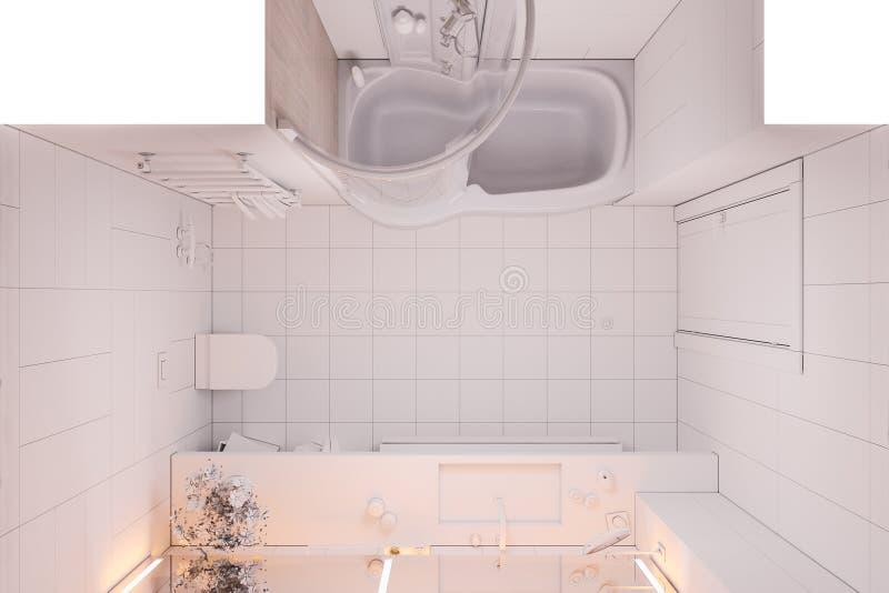 3d例证没有纹理和颜色的室内设计卫生间 皇族释放例证