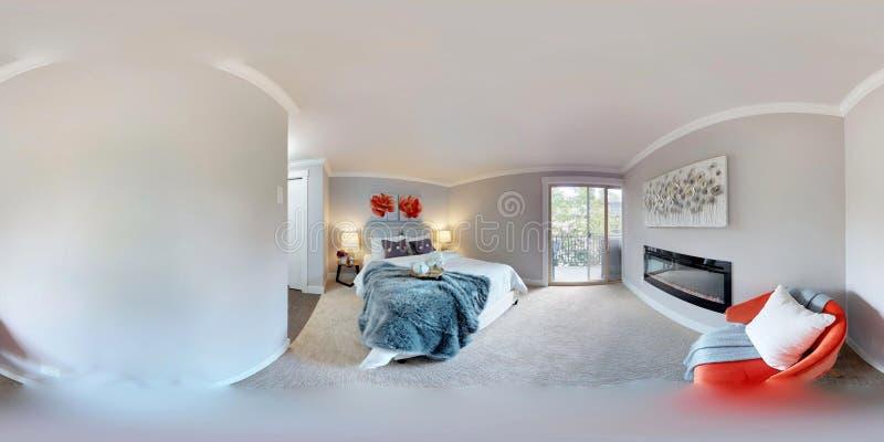 3d例证球状360程度,主卧室无缝的全景  库存图片