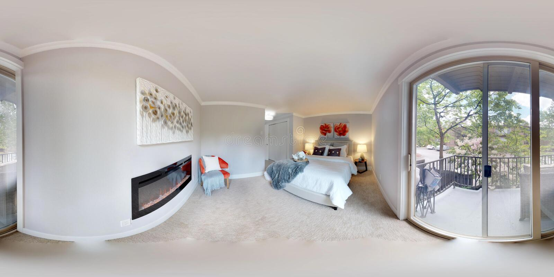3d例证球状360程度,主卧室无缝的全景  免版税库存照片