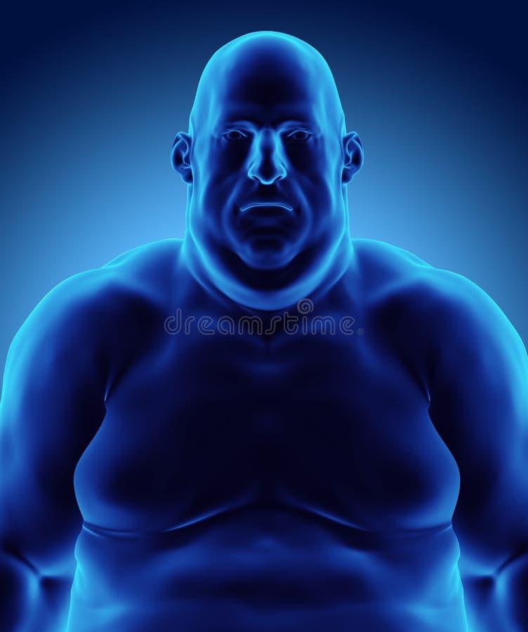 3d例证男性肥胖身分,医疗保健医疗概念 库存例证