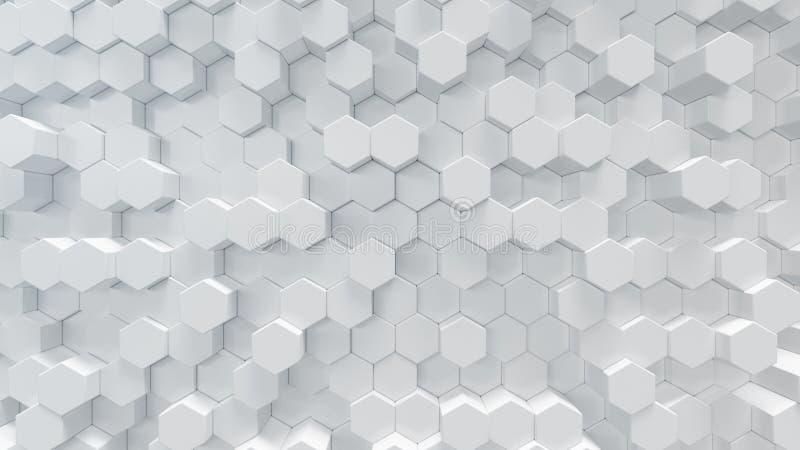 3D例证白色几何六角形摘要背景 表面六角形样式,六角蜂窝 免版税图库摄影