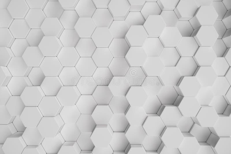 3D例证白色几何六角抽象背景 表面六角形样式,六角蜂窝 向量例证