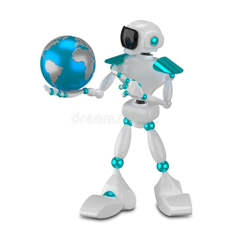 3D例证白色机器人和地球 库存例证