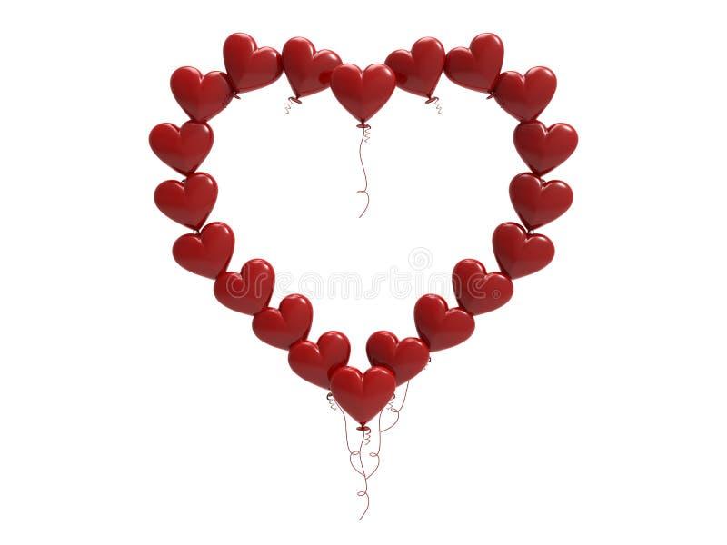 3D例证红色气球心脏框架 向量例证