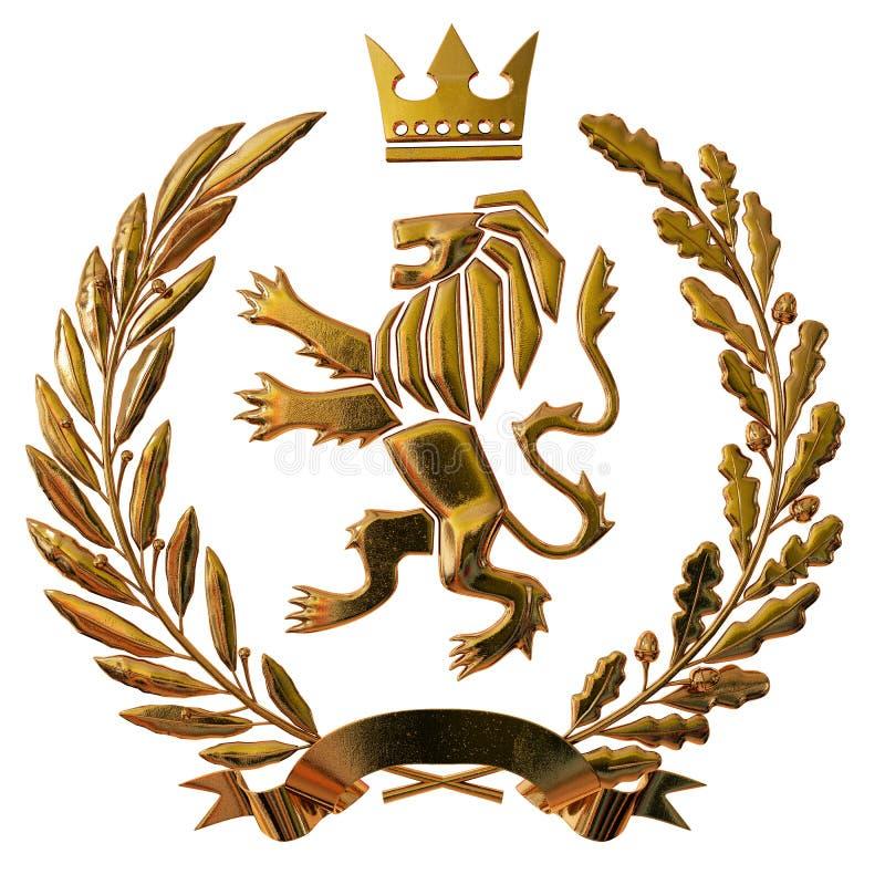 3D例证纹章,徽章 金黄橄榄树枝,橡木分支,冠,盾,狮子 Isolat 库存例证