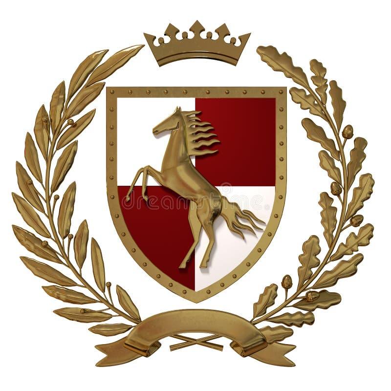 3D例证纹章,红白的徽章 金黄橄榄树枝,橡木分支,冠,盾,马 Isolat 皇族释放例证