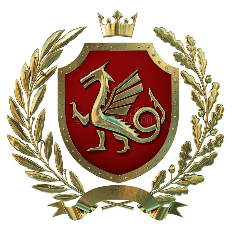 3D例证纹章,红色徽章 金黄橄榄树枝,橡木分支,冠,盾,龙 Isolat 库存例证