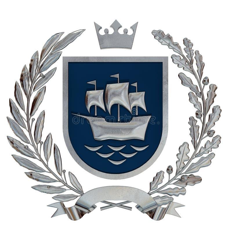 3D例证纹章,蓝色徽章 金属化橄榄树枝,橡木分支,冠,盾,船 Isolat 皇族释放例证