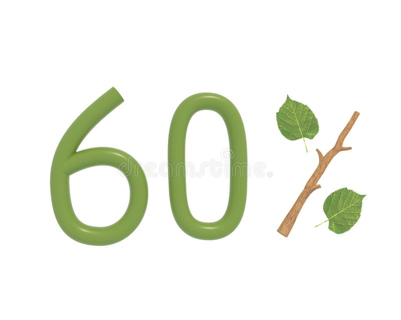 3d例证绿色文本设计了与叶子和棍子 向量例证