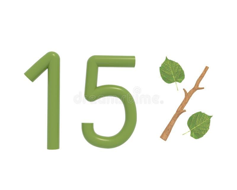 3d例证绿色文本设计了与叶子和棍子 皇族释放例证