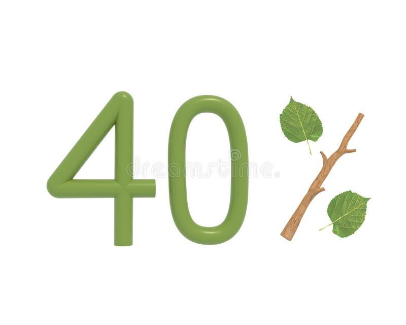 3d例证绿色文本设计了与叶子和棍子 库存例证