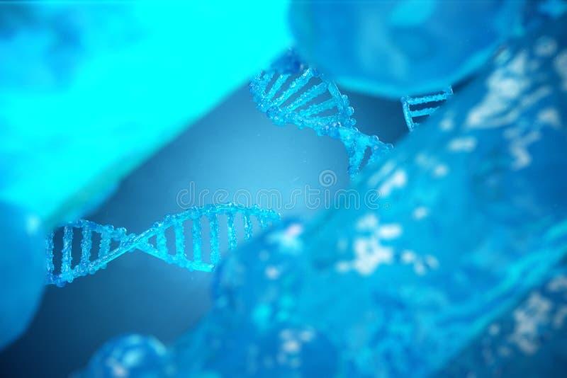 3D例证螺旋与修改过的基因的脱氧核糖核酸分子 改正由遗传工程的变化 分子的概念 免版税库存图片