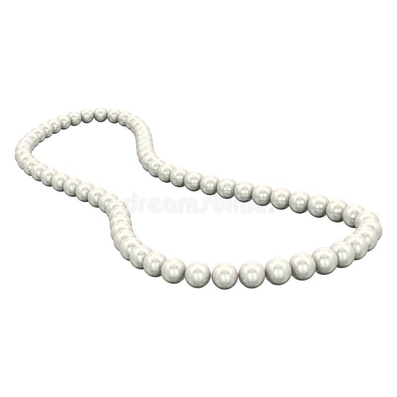 3D例证被隔绝的白色珍珠项链小珠 向量例证