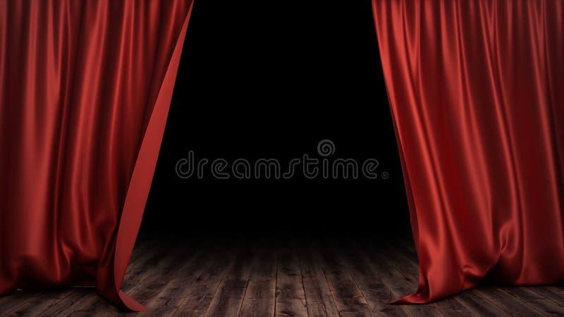 3D例证豪华红色丝绸天鹅绒帷幕装饰设计,想法 剧院或歌剧场面的红色阶段帷幕 库存例证