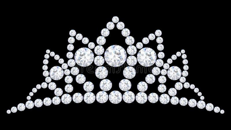 3D例证金刚石与珍贵闪烁的冠冠状头饰 皇族释放例证