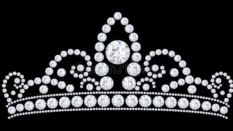 3D例证金刚石与珍贵闪烁的冠冠状头饰 向量例证
