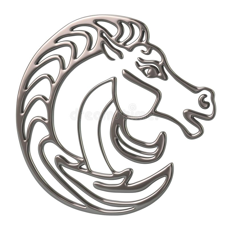 3d例证银金属马头商标 向量例证