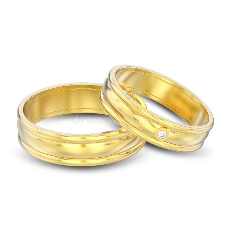 3D例证隔绝了两个金配比的夫妇婚戒 皇族释放例证