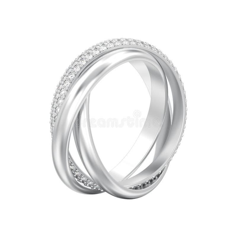 3D例证隔绝了人造白金或银装饰三i 库存例证