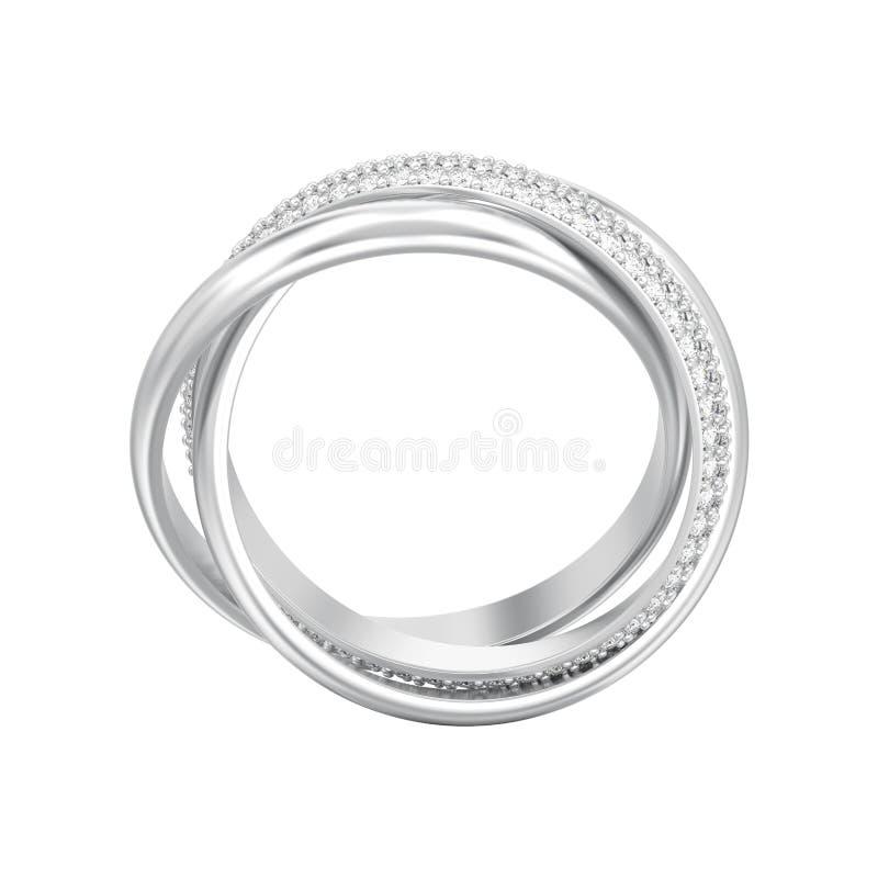 3D例证隔绝了人造白金或银装饰三i 向量例证