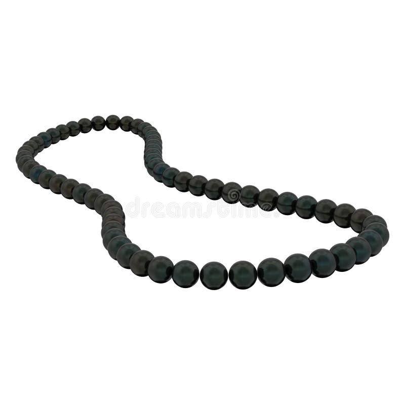 3D例证隔绝了在白色b的黑珍珠项链小珠 库存例证