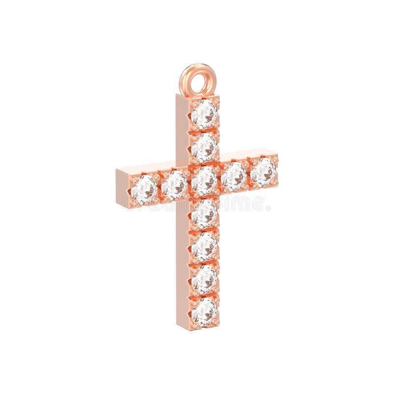 3D例证隔绝了玫瑰红的pendan金装饰金刚石的十字架 向量例证