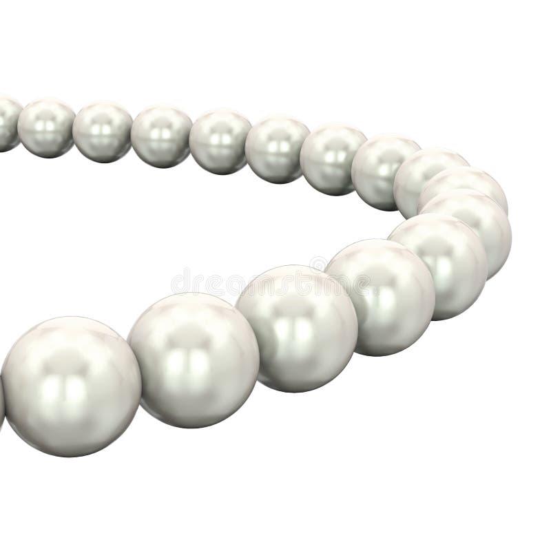 3D例证隔绝了紧密白色珍珠项链小珠 皇族释放例证