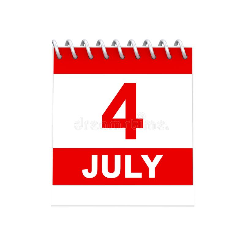 3D例证隔绝了4四7月红色和白色日历remi 皇族释放例证