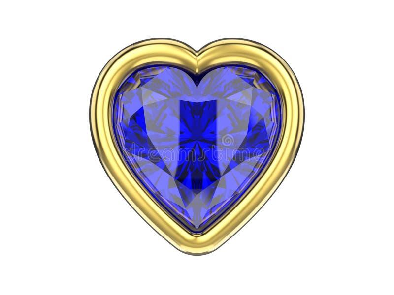 3D例证隔绝了在金子fra的蓝色青玉金刚石心脏 向量例证