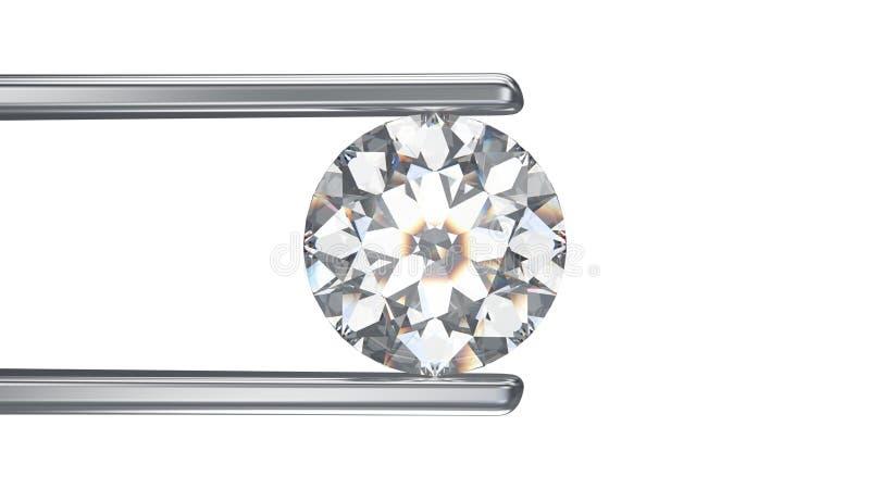 3D例证隔绝了在镊子的金刚石在一白色backgrou 向量例证