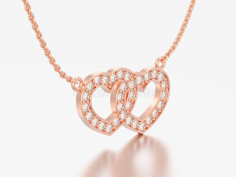 3D例证首饰两心脏红色玫瑰金金刚石necklac 向量例证