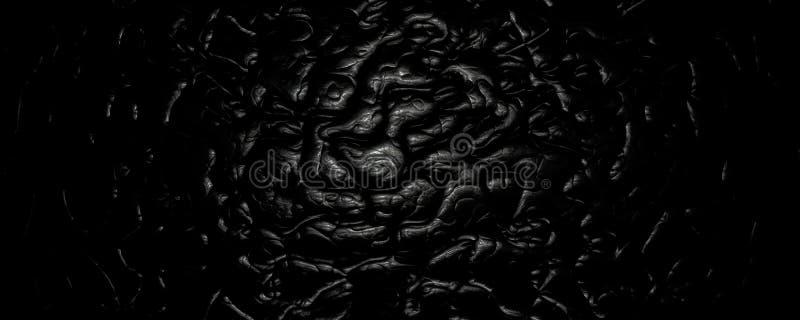 3d例证黑色波浪抽象皮革背景 向量例证