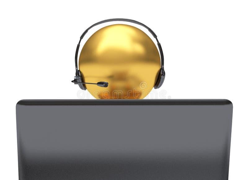 3D例证,工作在电话中心的雇员 库存例证