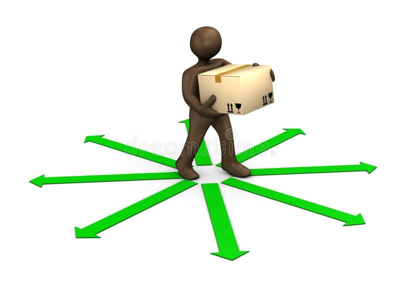 3D例证,布朗小雕象、小包送货员和绿色ar 向量例证