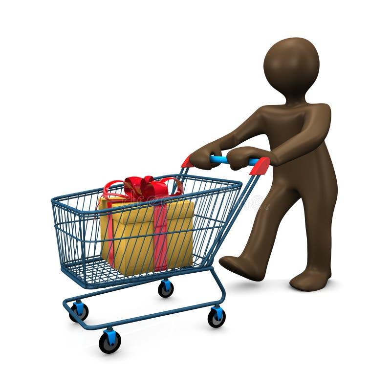 3D例证,布朗小雕象,购物车,购物 向量例证