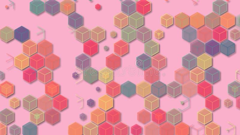 3D例证,抽象几何背景,浅粉红色的口气,五颜六色的箱子 库存照片