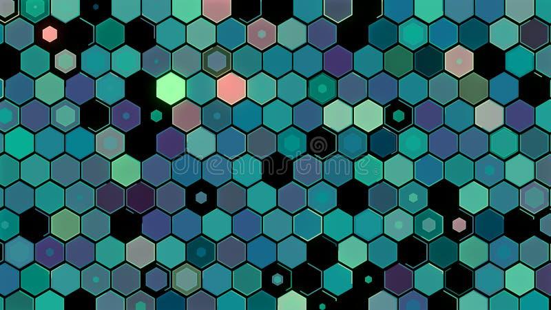 3D例证,抽象几何背景,浅绿色的口气,五颜六色的箱子 免版税库存照片
