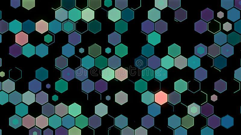 3D例证,抽象几何背景,浅绿色的口气,五颜六色的箱子 库存图片