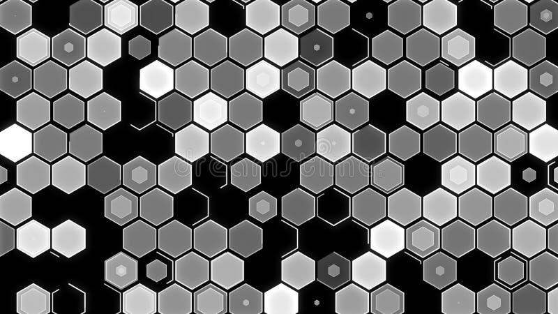 3D例证,抽象几何背景 白黑口气箱子 免版税库存照片